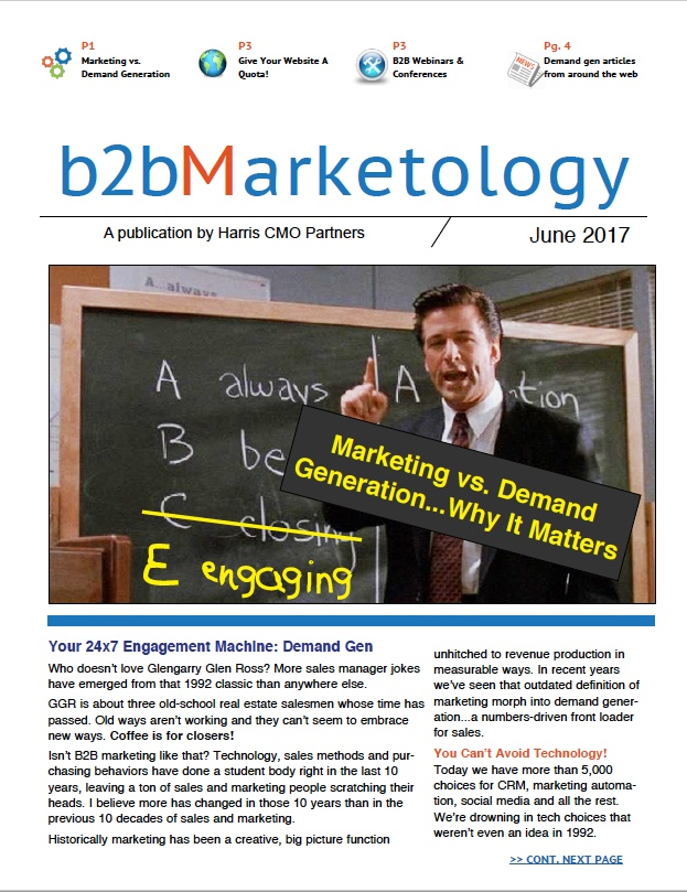 B2B demand gen news, articles and resources for sales and marketing professionals from Harris CMO Partners.